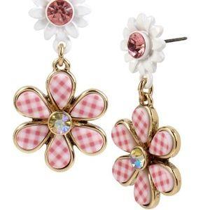 Betsey Johnson Picnic Gingham Flower Drop Earrings